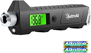 AstroAI Digital Tire Pressure Gauge, 230 PSI 4 Settings Heavy Duty for Car Bicycle with Larger Backlit LCD Flashlight and Non-Slip, Black