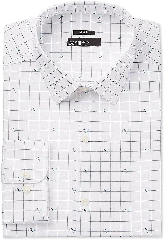 Bar III Men's Slim-Fit Birds on Wire Print Dress Shirt