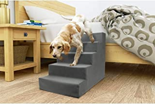 Precious Tails ED2026FSGRY Sherpa High Density Foam Stairs with 5-Steps and Machine Washable Zipper Removable Cover, Gray, 5-Steps