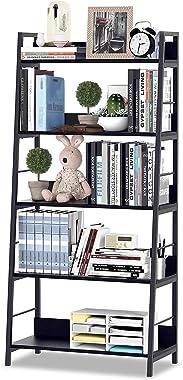 HIMIMI Black Ladder Bookshelf, 5 Shelf Bookcase Industrial Bookshelf Wood and Metal Bookshelves, Plant Flower Stand Rack Book
