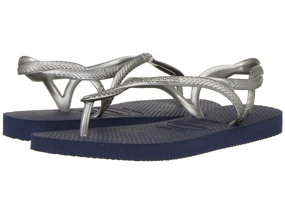Havaianas Kids Luna Sandals (Little Kid/Big Kid) (Navy Blue/Silver) Girls Shoes