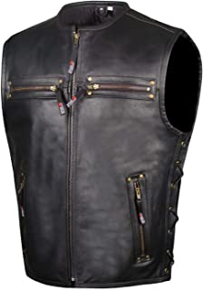 Men's Motorcycle Buffalo Leather Gun Pocket Armor Biker...