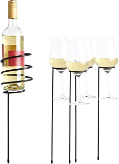 VonShef 5pc Outdoor Drink Holder Stakes Set - Holds Wine Bottle & 4 Glasses - Ideal for Yard, Picnic, Beach, BBQ, Camping & Outdoor Dining
