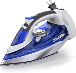 Mueller Professional Grade Steam Iron, Retractable Cord for Easy Storage, Shot of Steam/Vertical Shot, 8 Ft Cord, 3 Way Au...