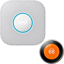 Nest Protect Wired Smoke and Carbon Monoxide Alarm 2nd Generation (White) S3000BWES with Nest Learning Thermostat - 3rd Gen