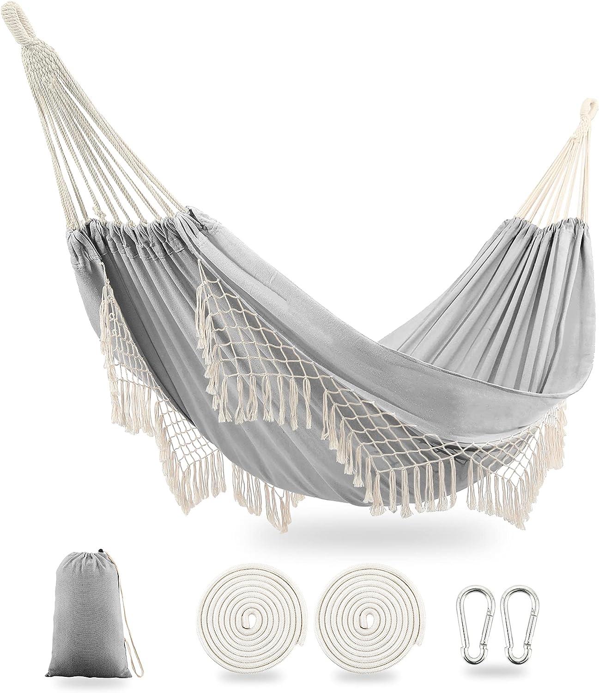 TingTingo Indoor Hammock Garden Cotton Hammocks with Tassels 2 Person Durable Swing with Travel Bag Perfect for Beach, Yard, Bedroom, Patio, Porch, Indoor, Outdoor, Wedding Decor 83