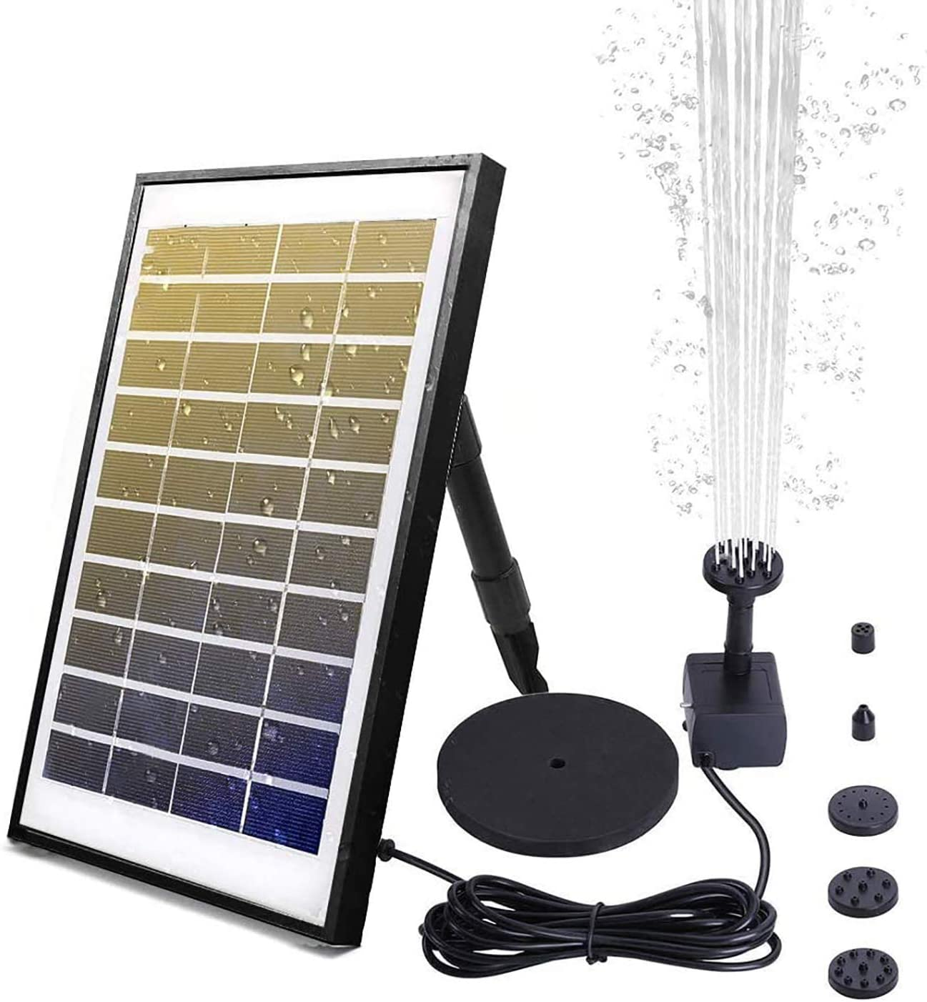 FeelGlad - Fuente solar de 6 W, bomba de agua para exteriores con 6 efectos de pulverización de agua, 500 l/h, bomba de jardín para estanque, baño de pájaros, estanque pequeño, jardín
