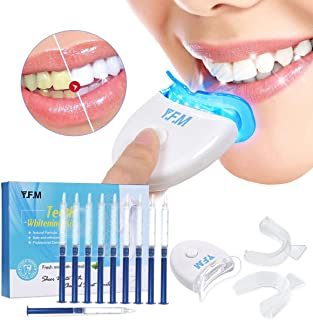 Teeth Whitening, Y.F.M Teeth Whitening Kit with LED Accelerator Light, Professional Dental Whitener, Home Teeth Whitener System, Teeth Whitening System: 10 X 3ml Gel Syringes, Comfort Fit Tray