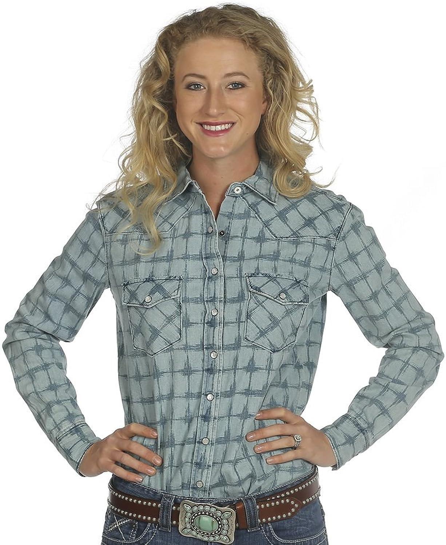 Cruel Girl Western Shirt Womens Long Sleeve Pockets Indigo CTW7024002