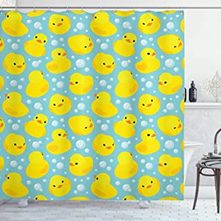 Ambesonne nursery decor Collection, Cute Happy Baby Rubber Duck and Bubbles Cartoon Pattern Childhood Kids Decor Animal Art, Polyester Fabric Bathroom Shower Curtain Set with Hooks, Aqua Yellow