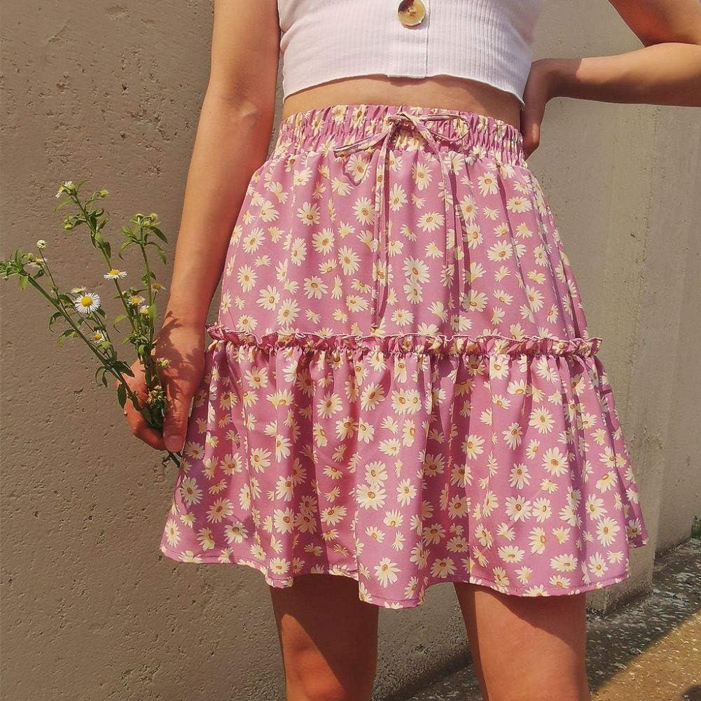 Daisy Print Zipper Mid-Waist Ruffle Casual Mini Skirt