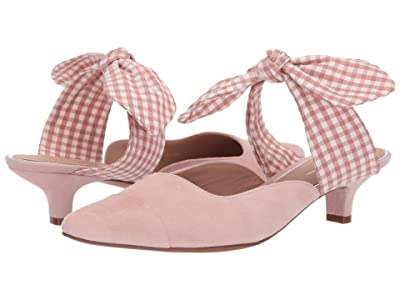 LINEA Paolo Crissy Bow Kitten Heel (Blush Suede/Plaid) Women