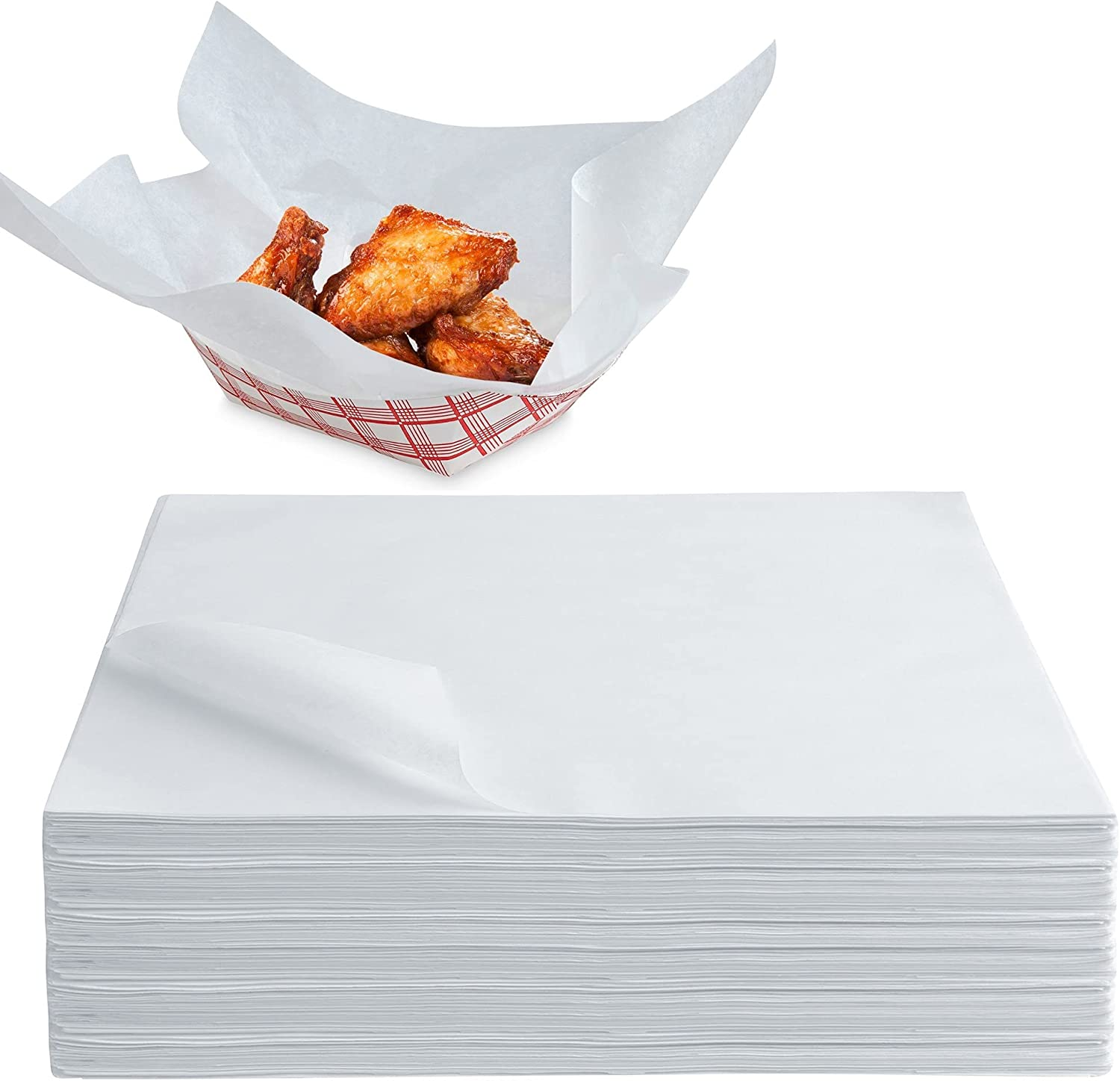 Stock Your Home 12 x 12 Grease Proof Deli Wrapper (500 Pack) - Pre Cut Natural Wax Paper Sheets - Recyclable Food Basket Liners - White Deli Papers For Sandwiches, Lining Wire Food Baskets, Food Trays