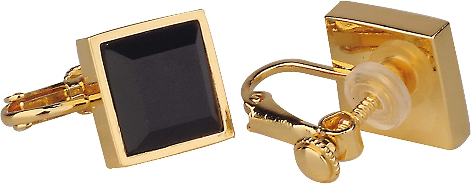 Philocaly Non-piercing Clip On Gemstone Square Earrings for Women, 18K Gold Plated