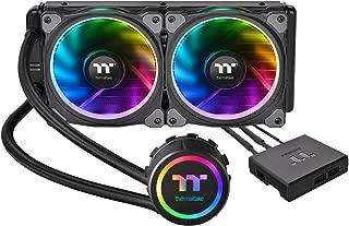 Thermaltake Floe Dual Ring RGB 240 TT Premium Edition PWM TR4 AM4 LGA2066 Ready AIO Liquid Cooling System 240mm High Efficiency Radiator CPU Cooler CL-W157-PL12SW-A