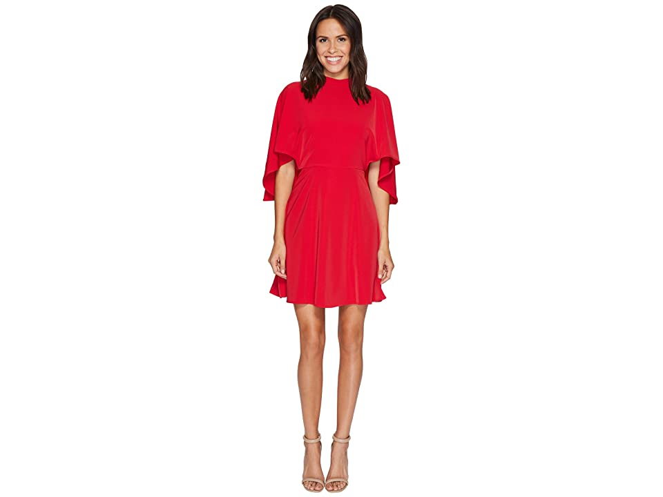 Maggy London Cold Shoulder Crepe Fit and Flare (Indian Red) Women