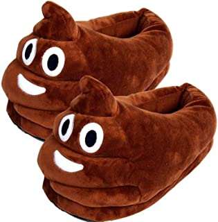 Mose Cafolo~ Emoji Face Wearing Slippers Plush Cotton Soft Warm Comfortable Indoor Bedroom Shoe for Big Kids & Women with Non-Skid Footpads