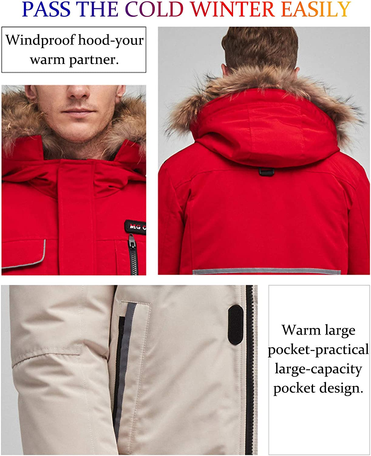 DUTUI Men's Winter Down Jacket, 80% White Duck Down Short Thick Down Jacket Casual Workwear Men's and Women's Warm Down Jacket,Red,XXL