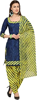 Rajnandini Blue Cotton Salwar Suit For Women (Ready To Wear)(One Size)