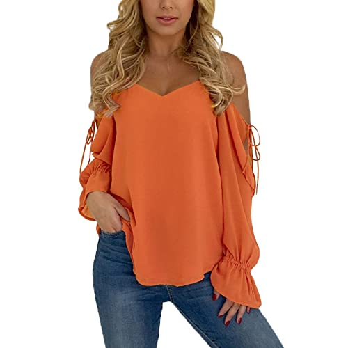 77602463f2509 Sidefeel Women Cold Shoulder Blouse Long Ruffle Sleeve