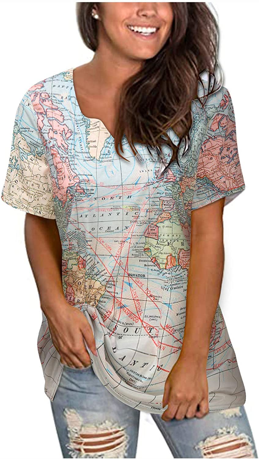 POTO Summer T Shirts for Womens Short Sleeve Casual Comfort Blouse T-Shirt Pullover Map Printed Shirts Tops