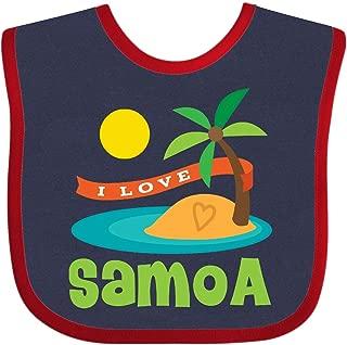 Inktastic I Love Samoa Baby Bib Navy and Red