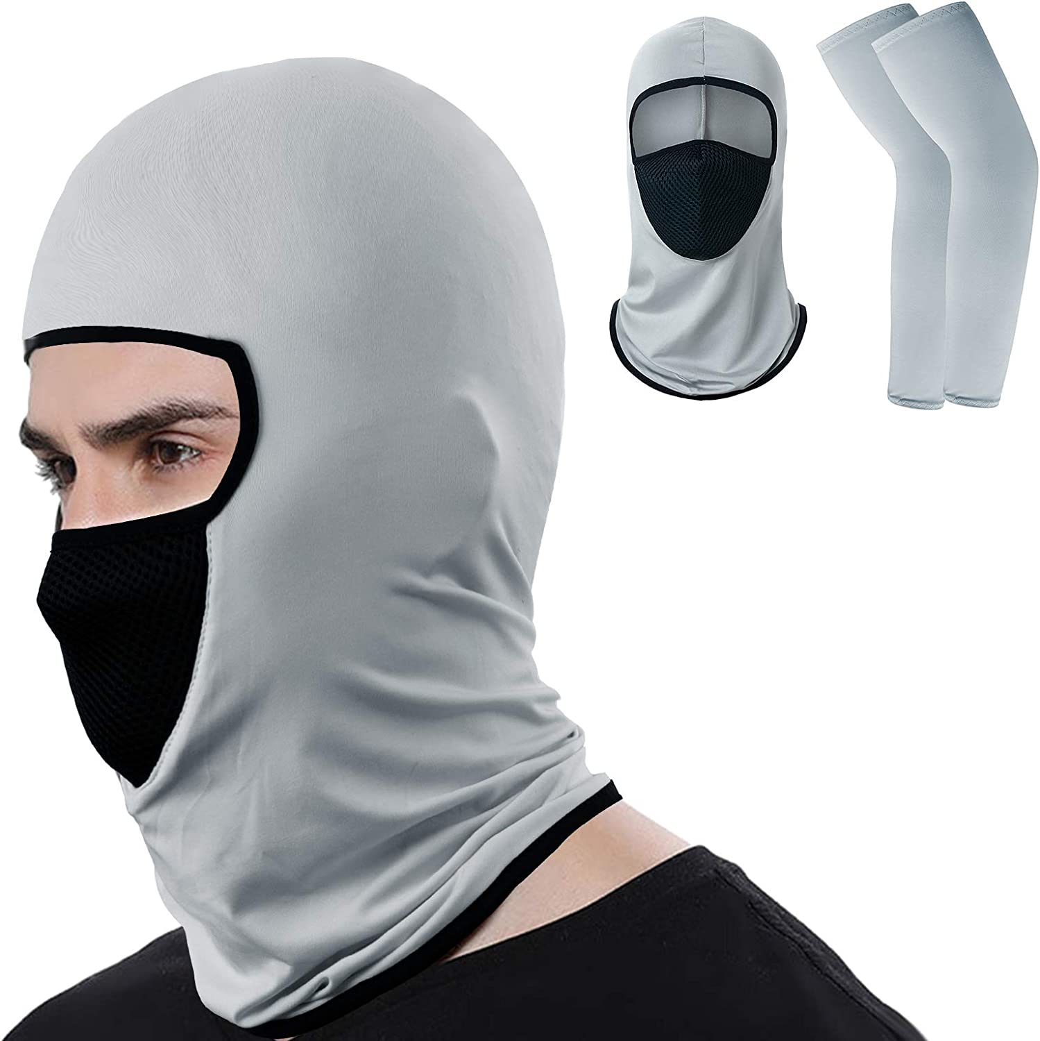 SVOPY Balaclava Riding Face Mask - UV Protector Cooling Neck Gaiter with Ice Silk Arm Cover Sleeves for Men/Women