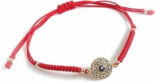 Red String Cord Turkish Evil Eye Gold tone Charm Bracelet - Pulseras de Hilo Rojo contra Mal de Ojo