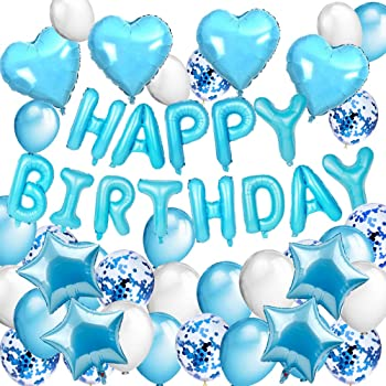 Joyeux Anniversaire Decoration Bleu Ballon Lettres Banniere Happy Birthday Banderole Guirlandes Pom Poms Pour Fete Garcon 1 2 3 4 5 6 7 8 9 10 An Mmtx Decoration Anniversaire Garcon Cuisine Maison Assortiments De Fetes