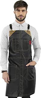 Under NY Sky Cross-Back Chimney Black Apron – Coated Twill with Leather Reinforcement and Split-Leg – Adjustable for Men and Women – Pro Barber, Tattoo, Hair Stylist, Barista, Bartender, Server Aprons