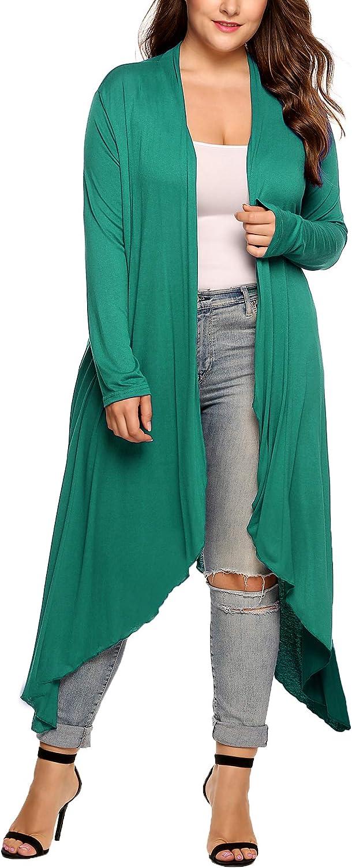 IN'VOLAND Women's Plus Size Cardigan Long Sleeve Open Front Drape Cardigans Lightweight Long Duster(L-5XL)