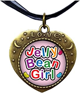 GiftJewelryShop Bronze Retro Style Cartoon Theme Heart Lover Moom Star Pendant Charm Necklaces, Jelly Bean Girl Easter