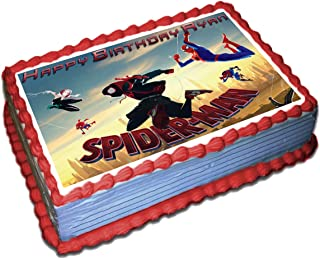 Spiderman Into the Spider Verse Personalized Cake Toppers Icing Sugar Paper 1/4 8.5 x 11.5 Inches Sheet Edible Frosting Photo Birthday Cake Topper Fondant Transfer (Best Quality Printing)
