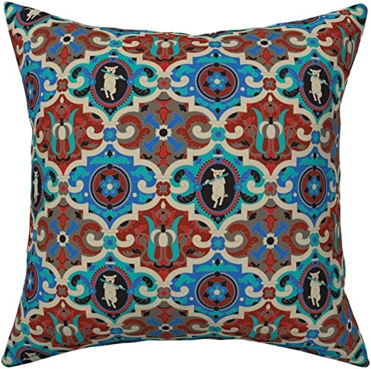 Vintage Textile Primitive Rustic Spring Decor Folk Art Victorian Velvet Blue Bird on Brocade Cushion Bluebird Honeysuckle Lane