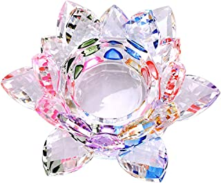 OwnMy 4.5 Inch Crystal Lotus Candle Tealight Holder, Glass Candle Lamps Holder Night Light Candlestick with Gift Box for Altar windowsill Home Decor Christmas Wedding Party (4.5 Inch Rainbow)
