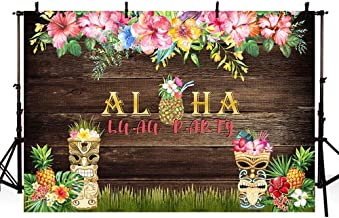 MEHOFOTO Aloha Birthday Backdrop Summer Rustic Tropical Hawaiian Luau Party Baby Shower Wood Pineapple Pink Floral Tiki Background for Photography Photo Booth Banner 7x5ft