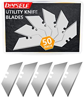 DIYSELF 50Pack Utility Knife Blades, SK5 Steel 50-pack with Plastic Box, Standard Size Knife Blades Perfect for Utility Kn...