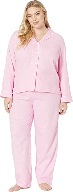 Plus Size Brushed Twill Long Sleeve Notch Collar Pajama Set