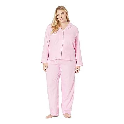 LAUREN Ralph Lauren Plus Size Brushed Twill Long Sleeve Notch Collar Pajama Set (Pink Plaid) Women