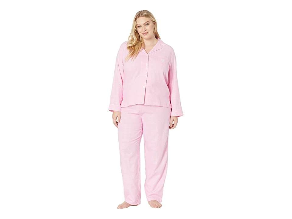 LAUREN Ralph Lauren Plus Size Brushed Twill Long Sleeve Notch Collar Pajama Set (Pink Plaid) Women