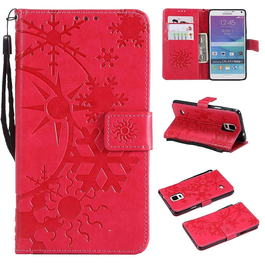 未接続一緒に鹿Galaxy Note 4 ケース CUSKING 手帳型 ケース ストラップ付き かわいい 財布 カバー カードポケット付き Samsung ギャラクシー Note 4 マジックアレイ ケース - ホトピンク