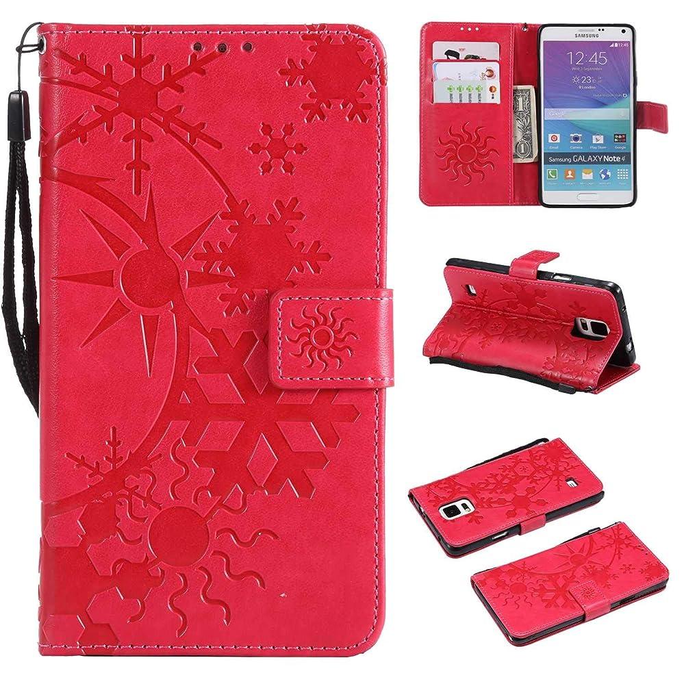 ではごきげんようシード変装したGalaxy Note 4 ケース CUSKING 手帳型 ケース ストラップ付き かわいい 財布 カバー カードポケット付き Samsung ギャラクシー Note 4 マジックアレイ ケース - ホトピンク