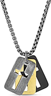 """Steve Madden 26"""" Tri-Color Stainless Steel Box Chain Open Cross Dogtag Trio Pendant Necklace for Men"""