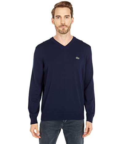 Lacoste Long Sleeve Solid V-Neck Sweater (Navy Blue) Men