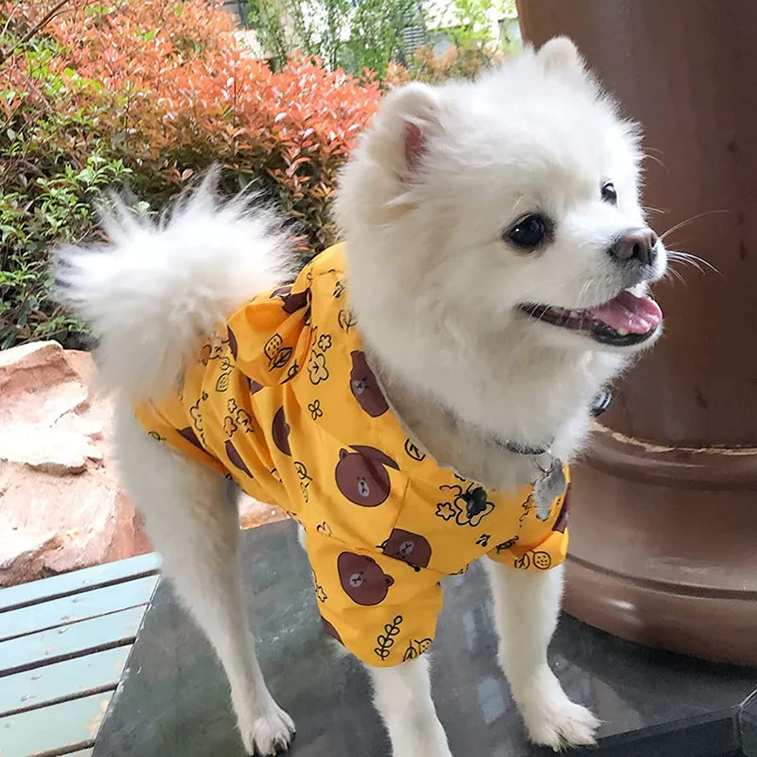 MDKAZ Clothes for Pets Pet SEAL limited product Cat Hooded Dog Houston Mall Raincoat Smiley Animal