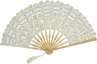 BESTOYARD Ventilador Plegable de Mano Chino Ventilador de bambú Encaje de Algodón Vintage (Beige)