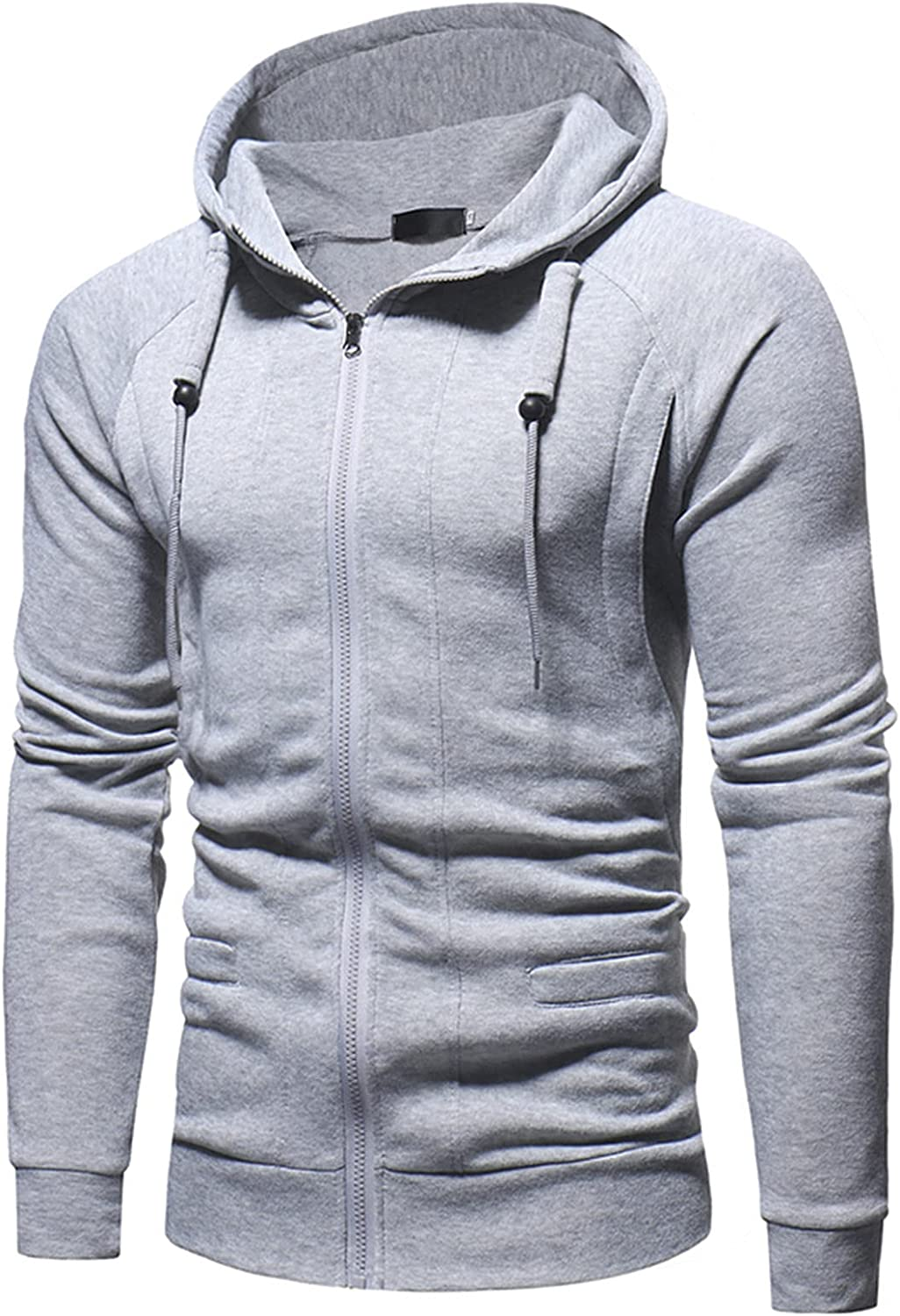 HONGJ Hoodies for Mens, Zipper Tether Solid Hooded Sweatshirts Men's Fall Slim Fit Workout Fitness Sports Casual Jackets