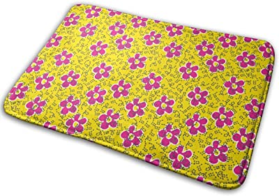 Little Pink Flowers On A Yellow Background Carpet Non-Slip Welcome Front Doormat Entryway Carpet Washable Outdoor Indoor Mat Room Rug 15.7 X 23.6 inch
