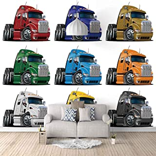 VITICP Adults Kids Wall Stickers Decals Peel and Stick Removable Wallpaper Cartoon Heavy Truck for Nursery Bedroom Living ...