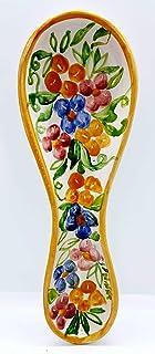 Poggiacucchiaio Linea Fiori di Nina dimensioni 24 x 8,5 cm Realizzato a Mano Le Ceramiche del Castello Made in Italy